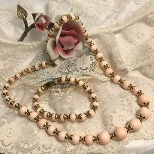 AVON Vintage Pink & Gold Necklace + Bracelet Set